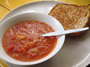 Vegetarian cuisine - Vegetable soup and cheese sandwich, a meal which is suitable for vegetarians but not vegans