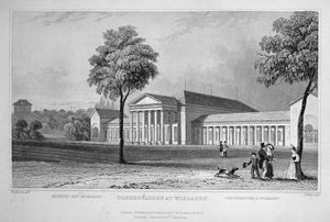 Kurhaus, Wiesbaden - The old Kurhaus, steel engraving by William Tombleson (1840)
