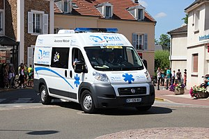 Emergency medical services in France - Private Basic Ambulance on the Tour de France in Saint-Rémy-lès-Chevreuse, France.