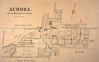 Aurora, Ontario - A map of Aurora from 1878. Scale is denoted in chains, a measure equivalent to 66 feet or 20.12 metres.