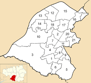 Trafford Metropolitan Borough Council - Image: Trafford Council Wards Numbered