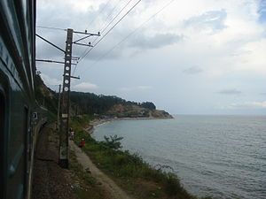 North Caucasus Railway - The Kazan-Adler train running along the coast of the Black Sea.