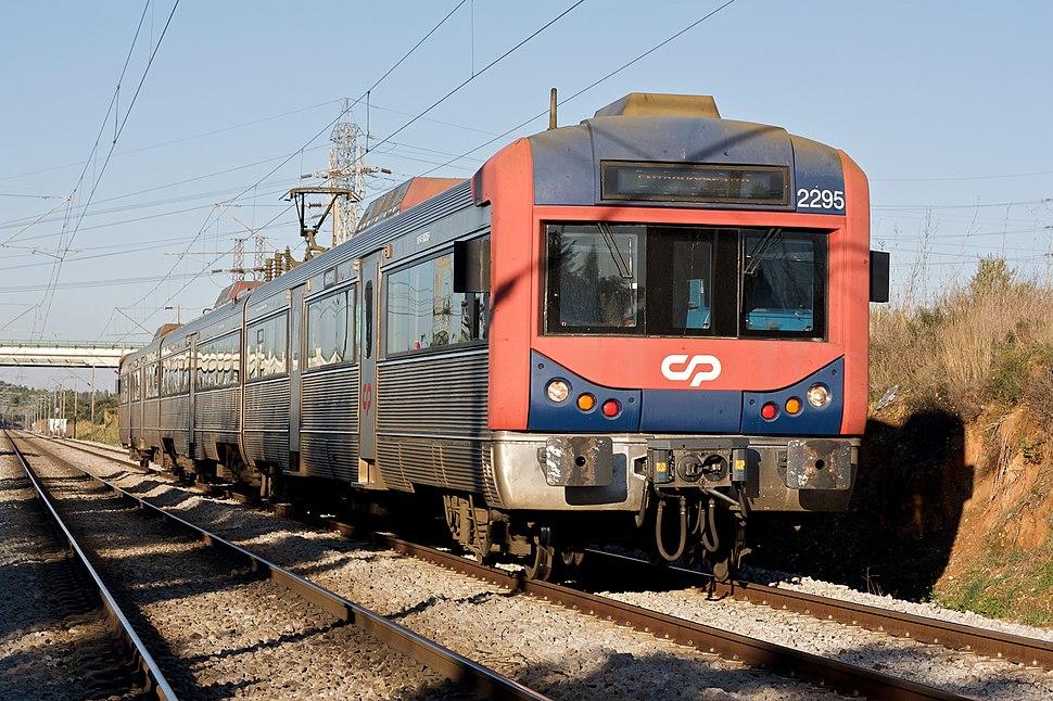 Train type 2240 Linha do Norte close to Entroncamento Portugal