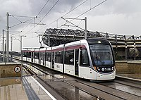 Tram approaching Murrayfield (geograph 4110107).jpg