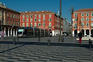 Nice tramway - A Nice tramway car at Place Massena