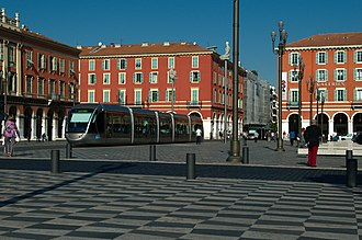 Nice tramway - A Nice tramway car at Place Massena