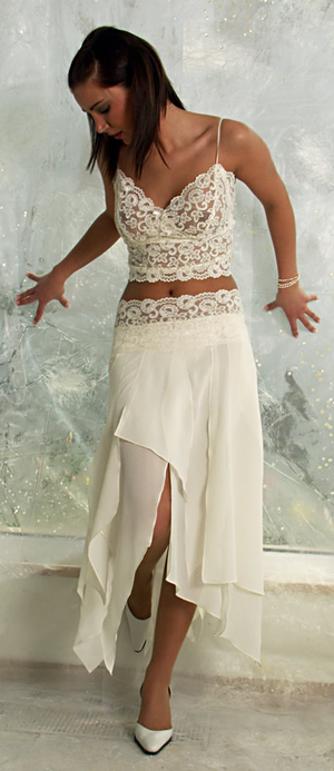 See-through clothing - Semi-transparent lace top and chiffon skirt
