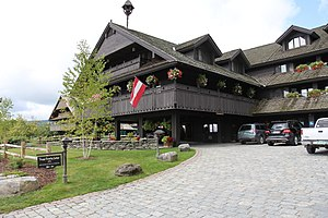 Trapp Family Lodge - The motor entry of the Austrian-style main building of the Trapp Family Lodge