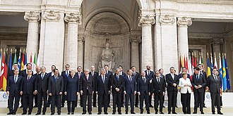 European Union - Group photograph of European Union heads of government on occasion of the 60th anniversary of the Treaty of Rome in Rome, Italy
