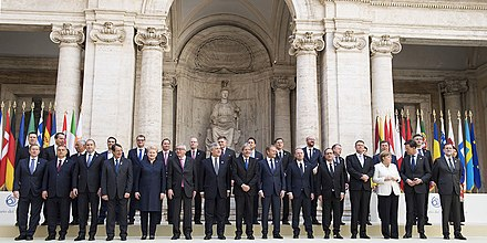 Group photograph of European Union heads of government on occasion of the 60th anniversary of the Treaty of Rome in Rome, Italy Treaty of Rome anniversary group photograph 2017-03-25 03.jpg