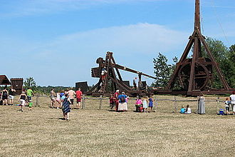 Lolland - Trebuchet ready for firing at Middelaldercentret.