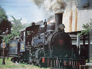 Rail transport in El Salvador - FENADESAL steam engine in Apopa.