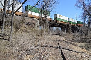 Trenton Cutoff - A freight train on the Trenton Cutoff passes over the abandoned Newtown Line in 2015