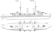 side and top view diagrams of the ship