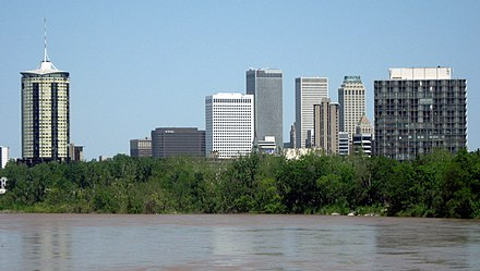 The Arkansas River marks the division between West Tulsa and other regions of the city. Tulsa, Oklahoma.jpg