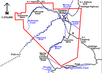 Tumbler Ridge - The municipal border (red) encompasses over 1500 km² (600 sq mi) of land. The townsite is on the northern end of the municipality where the rivers converge.