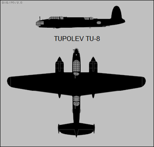 Tupolev Tu-8 two-view silhouette.png