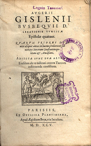 Ogier Ghiselin de Busbecq - Cover page of Turcicae epistolae, 1595 ed.