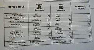 Two-party system - In a two-party system, voters have mostly two options; in this sample ballot for an election in Summit, New Jersey, voters can choose between a Republican or Democrat, but there are no third party candidates.
