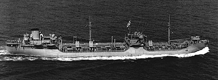 The SS Hat Creek, a T2 tanker completed by Alabama Drydock and Shipbuilding Company in 1943. The company built 102 of these oil tankers during WWII. Type T2-SE-A1 tanker Hat Creek underway at sea on 16 August 1943.jpg