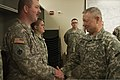 U.S. Army Gen. Frank J. Grass, right, the chief of the National Guard Bureau, speaks with Spc. Robert Winters while visiting Oklahoma Army and Air National Guardsmen May 28, 2013, at the Armed Forces Reserve 130528-Z-RH707-103.jpg