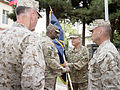 U.S. Marine Corps Gen. Joseph F. Dunford Jr., left foreground, the outgoing commander of the International Security Assistance Force (ISAF) and U.S. Forces-Afghanistan (USFOR-A), and Sgt. Maj. James E. Booker 140826-D-HU462-525.jpg