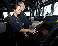 U.S. Navy Ensign Kelly Denimarck checks the ship's position in the pilothouse aboard the guided missile destroyer USS William P. Lawrence (DDG 110) July 22, 2013, in the U.S. 5th Fleet area 130722-N-ZQ631-033.jpg