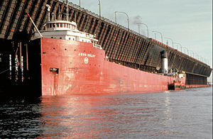Ore dock - Laker at dock in Duluth, Minnesota showing scale