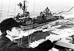 USS Basilone (DD-824) is refueled by USS Kalamazoo (AOR-6) in the Atlantic Ocean on 18 January 1977.jpg