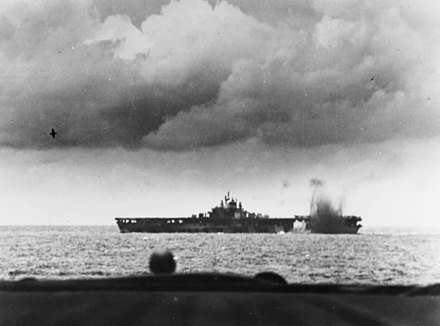 USS Bunker Hill is nearly hit by a Japanese bomb during the air attacks of June 19, 1944. USS Bunker Hill (CV-17) is near-missed by a Japanese bomb during the Battle of the Philippine Sea, 19 June 1944 (80-G-366983).jpg