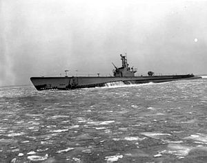 Loggerhead (SS-374), during sea trials on Lake Michigan, winter 1944.