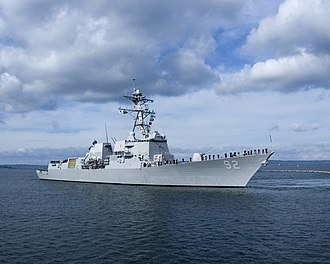 Arleigh Burke-class destroyer - Image: USS Momsen (DDG 92) stbd bow view