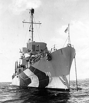 USS Raby (DE-698) at anchor off Guam, in 1944
