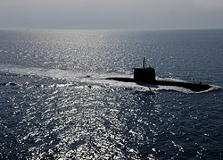 US Navy 050624-N-1464F-025 The Turkish submarine Preveze surfaces following the North Atlantic Treaty Organization (NATO) submarine escape and rescue exercise Sorbet Royal 2005.jpg