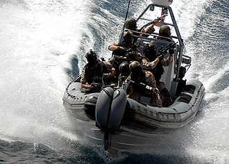 Frogman Corps (Denmark) - Image: US Navy 090219 N 6278K 006 The visit, board, search and seizure team from the Danish flexible support ship HDMS Absalon (L 16) conduct VBSS training aboard USS Vella Gulf (CG 72)