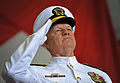 US Navy 090724-N-8273J-014 Chief of Naval Operations (CNO) Adm. Gary Roughead salutes during the presentation of colors during the change of command ceremony for U.S. Fleet Forces Adm. Jonathan W. Greenert and Adm. John C. Harv.jpg