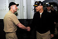 US Navy 110414-N-OY799-070 Rear Adm. Joseph Aucoin, left, commander of Carrier Strike Group 3, greets Vice Adm. Richard Hunt, commander of the U.S.jpg