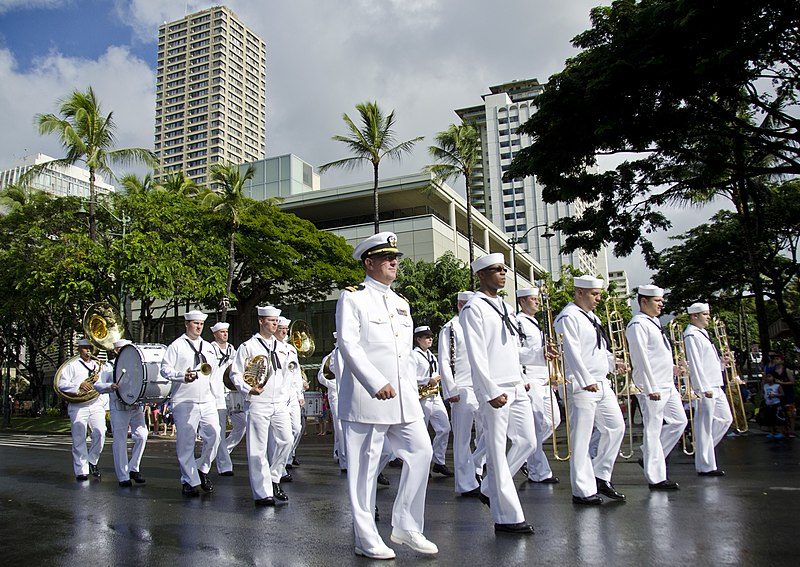 US Navy 111218-N-RI884-097 The U.S. Pacific Fleet Marching Band participates in a parade through downtown Waikiki honoring Japanese-American vetera.jpg