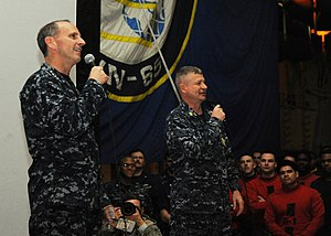 US Navy 120112-N-VH054-045 Chief of Naval Operations (CNO) Adm. Jonathan Greenert and Master Chief Petty Officer of the Navy (MCPON) Rick D. West s.jpg