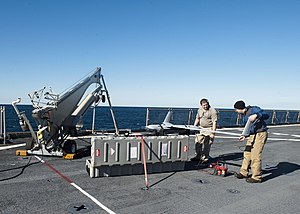 US Navy 120130-N-NR955-034 Contractors prepare the unmanned aerial vehicle Scan Eagle for take off on the flight deck aboard the Whidbey Island-cla.jpg