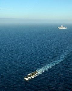 US Navy 120210-N-XH369-150 Landing Craft Utility (LCU) 1635 launches from the amphibious assault ship USS Peleliu (LHA 5).jpg