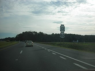 U.S. Route 13 in Maryland - Southbound US 13/eastbound US 50 on the Salisbury Bypass