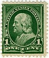 US stamp 1898 1c Franklin green.jpg