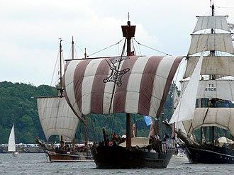 Kiel Week - Amphitrite, Ubena von Bremen, and Roald Amundsen in 2007, forming part of the annual tall ship fleet at Kiel Week