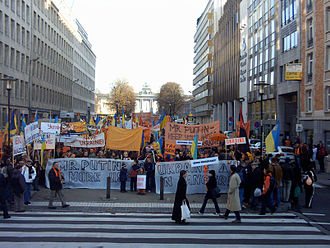 Viktor Yushchenko - Pro-Orange Revolution demonstration in Brussels, Belgium