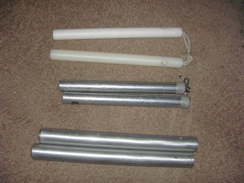 Uncommon nunchuks made of solid nylon, hollow aluminum, and solid metal (unlinked) Uncommon nunchucks.jpg