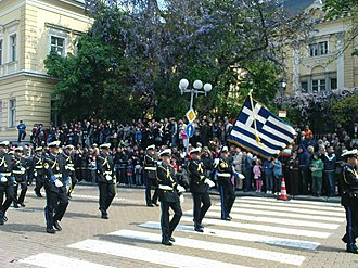 Bulgaria–Greece relations - The Hellenic Navy band participating in the Army Day parade in Sofia in 2009