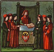 L'ingresso di alcuni studenti nella Natio Germanica Bononiae, il collegio di studenti tedeschi a Bologna, miniatura del 1497.