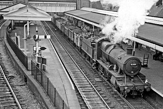 Wrexham General railway station - A coal train from Gresford Colliery passes through Platform One in 1959.
