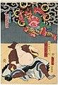 Utagawa Kunisada II - Actors Seki Sanjûrô III as the Priest Gennô, actually a Raccoon-dog, and Ichimura Kakitsu IV as a Thunder God.jpg